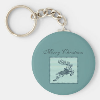 Adorable cheerful Christmas reindeer patchwork Basic Round Button Key Ring
