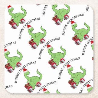 Adorable cheerful cute funny Santa dinosaur Square Paper Coaster