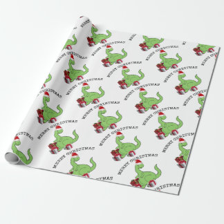 Adorable cheerful cute funny Santa dinosaur Wrapping Paper