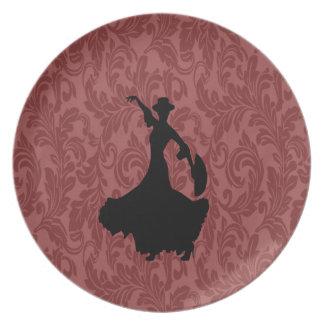 Adorable cheerful damask flamenco dancer party plates