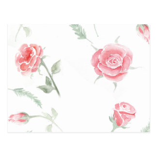 Adorable cheerful Watercolor elegant vintage roses Postcard
