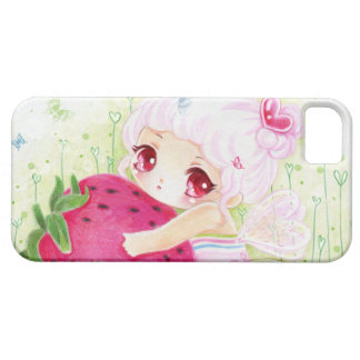 Adorable chibi girl with strawberry iPhone 5 case