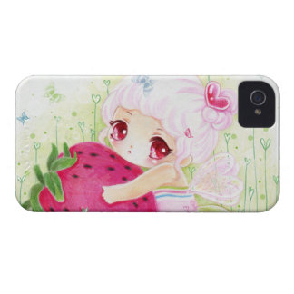 Adorable chibi girl with strawberry iPhone 4 case
