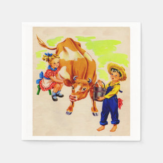 adorable children with adorable cow disposable napkins