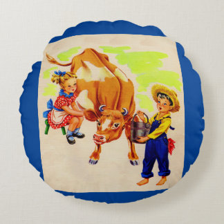 adorable children with adorable cow round cushion