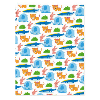 Adorable Children's Animal Jungle Pattern Postcard