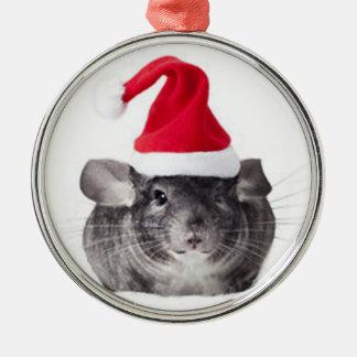 Adorable Chinchilla Santa Model Metal Ornament
