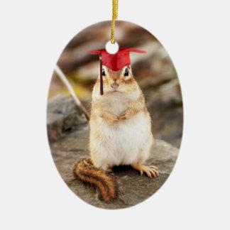 Adorable Chipmunk Graduate Oval Ornament