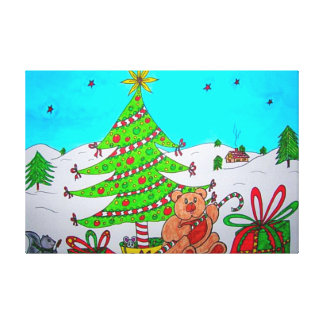 Adorable Christmas Bear Wrapped Canvas Gallery Wrap Canvas