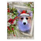 Adorable Christmas Corgi Puppy with white Frame Card