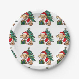 Adorable Christmas dog Plates