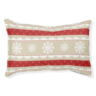 Adorable Christmas Pattern With Snowflakes Pet Bed