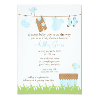 Adorable Clothesline Boy Baby Shower 13 Cm X 18 Cm Invitation Card