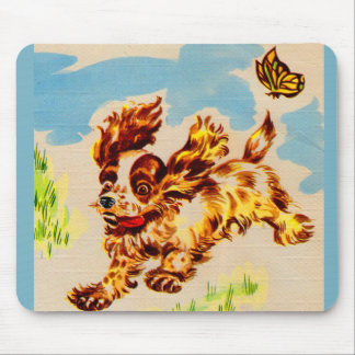 adorable cocker spaniel puppy on the run mouse pad