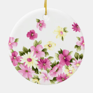 Adorable Colorful Girly Blooming Flowers Ceramic Ornament