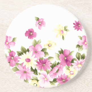 Adorable Colorful Girly Blooming Flowers Coaster