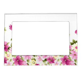Adorable Colorful Girly Blooming Flowers Magnetic Picture Frame