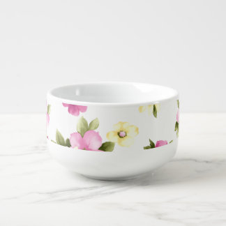 Adorable Colorful Girly Blooming Flowers Soup Mug