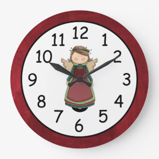 Adorable Country Angel Doll Large Clock