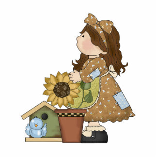 Adorable Country Doll with Sunflower Photo Cutout