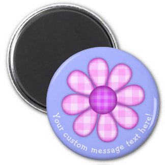 Adorable Country Plaid Graphic Flower Icon 6 Cm Round Magnet