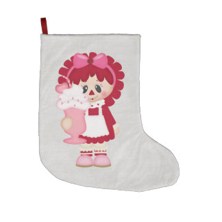 Adorable Country Valentine Rag Doll Large Christmas Stocking