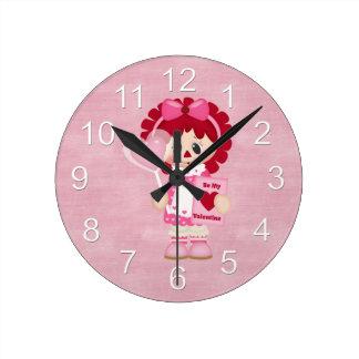 Adorable Country Valentine Rag Doll Round Clocks