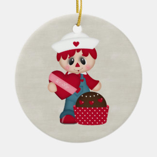 Adorable Country Valentine Rag Doll Double-Sided Ceramic Round Christmas Ornament
