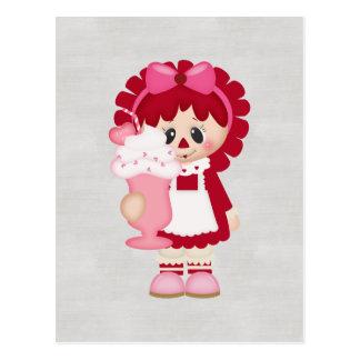 Adorable Country Valentine Rag Doll Postcard