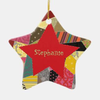 Adorable Crazy Quilt Add Name Ceramic Ornament