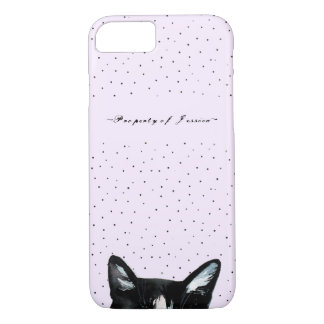 Adorable Curious Peeking Cat with Dots Add Name iPhone 8/7 Case