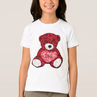 Adorable Customizable Red Bear Valentine's Day T-Shirt