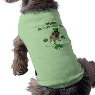 Adorable Customizable St. Pat's Day Pug Sleeveless Dog Shirt