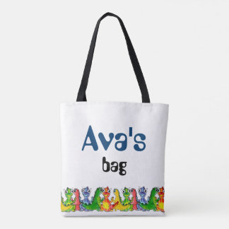 Adorable cute baby dinosaurs doodle picture design tote bag