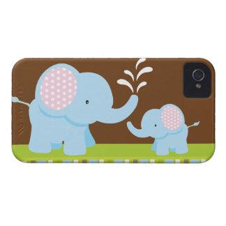 Adorable cute cartoon elephants blackberry bold iPhone 4 Case-Mate case