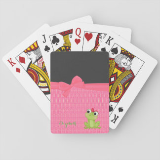 Adorable  Cute Frog On  Polka Dots-Personalized Playing Cards
