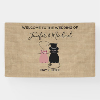 Adorable cute funny cartoon cats in love burlap banner