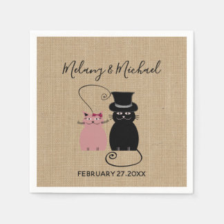 Adorable cute funny cartoon cats in love burlap paper napkin