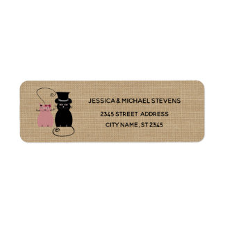Adorable cute funny cartoon cats in love burlap return address label