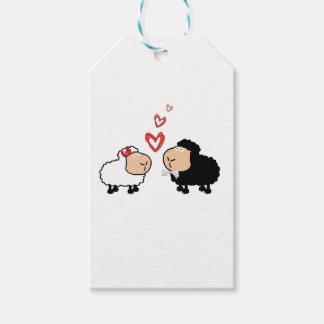Adorable cute funny cartoon sheep in love gift tags