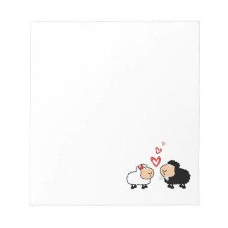 Adorable cute funny cartoon sheep in love notepad
