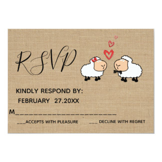 Adorable cute funny cartoon sheep in love RSPV Card
