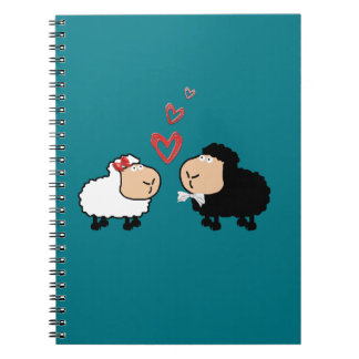 Adorable cute funny cartoon sheep in love spiral notebook