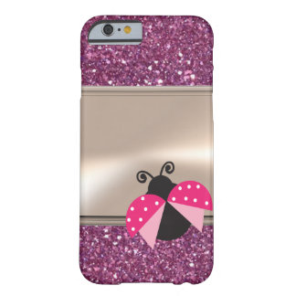 Adorable Cute Ladybug On Glittery Barely There iPhone 6 Case