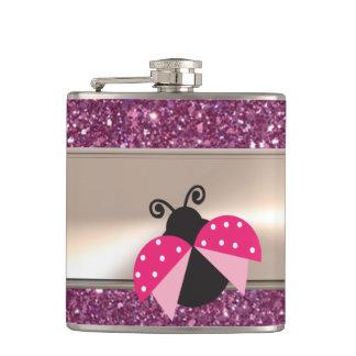 Adorable Cute Ladybug On Glittery Hip Flask