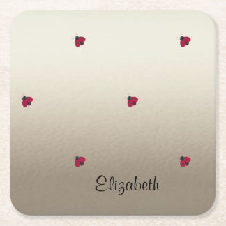 Adorable Cute ,Ladybugs,Luminous-Personalized Square Paper Coaster