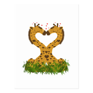 Adorable Cute Love Giraffes Heart Shaped Kissing Postcard