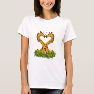 Adorable Cute Love Giraffes Heart Shaped Kissing T-Shirt
