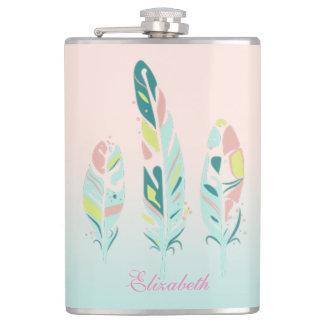Adorable Cute  Modern Girly Feathers Hip Flask