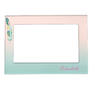 Adorable Cute  Modern Girly Feathers Magnetic Picture Frame